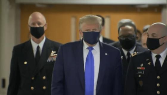 President Trump wearing mask at Walter Reed