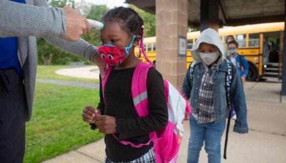 Kids Getting Scanned Wearing Masks School-min
